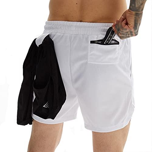 ZAYZ Hombres Ligero 2 En 1 Pantalones Cortos para Correr por Entrenamiento Activo Hacer Ejercicio Entrenamiento de Ciclismo (Color : White, Size : XL)