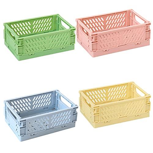 4 Stücke Klappkiste stabil kunststoff Aufbewahrung Korb, Faltbare klein Aufbewahrungsboxen Lagerkisten Klappkorb für Küche, Schlafzimmer & Arbeitszimmer (Medium)