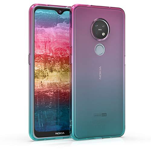 kwmobile Hülle kompatibel mit Nokia 7.2 - Hülle Handy - Handyhülle Zwei Farben Pink Blau Transparent