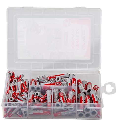 fischer – Caja pequeña surtida de tacos fischer Duopower (132 uds), para fijación con tornillos a pared, cabeza con borde incorporado, giro sencillo del tornillo, fácil extracción final