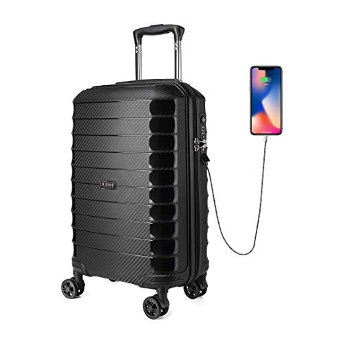 Kono Suitcase Luggage 55cm Cabin Case PP Material Lightweight with USB Charging Port Built-in TSA Lock 4 Spinner Wheels, 20'', Black