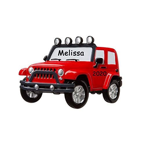 Personalized Red 4x4 SUV New Car Christmas Ornament Holiday Decoration with Custom Name and Date