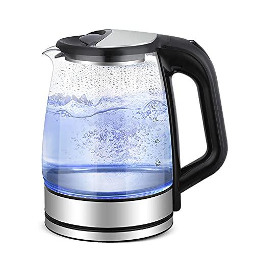 Slabo Wasserkocher Kettle Glas mit LED-Beleuchtung, 2200 Watt | 1,7 Liter, geräuschlos - schwarz | Silber