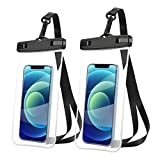 AINOYA Universal Waterproof Case 2 Pack, IPX8 Waterproof Phone Pouch Compatible with iPhone 12 Pro Max/Galaxy s21 Ultra/Pixel 5a /oneplus 9 pro up to 7' (Black)