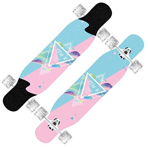 TB-Scooter Longboard Jungen und Mädchen Universal doppelseitiges Muster Anfänger Brush Street Dance Board Autobahn mit LED Leuchtrollen, 107cm Skateboard,Maximal 220 Pfund