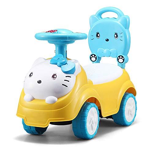 CAH-Travel Systems Petit Chat Enfants Baby Walker 1/2-3 Ans Bébé Scooter Twist Car Musique à Quatre Roues,1.5kg(50 Kg Maximum) Trottinette Enfant,Yellow