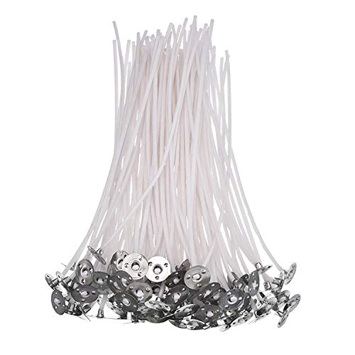 Tuoservo 6-inch Natural Candle Wicks for Candle Making, 100 Pieces