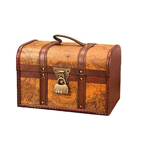 LSONE Cofre del tesoro de madera, diseño de mapa antiguo, estilo vintage, caja de almacenamiento para joyas, con candado, decoración, muestra artesanía (M,contraseña)
