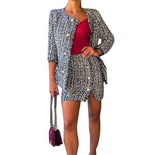 Loalirando Elegant Damen Blazer Rundhals Kragenlos Kurzjacke Anzug Set mit Rock (S, Blazer)