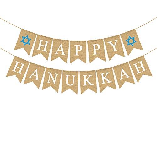 Rainlemon Jute Burlap Happy Hanukkah Banner Rustic Chanukah Holiday Mantel Fireplace Garland Decoration Supply