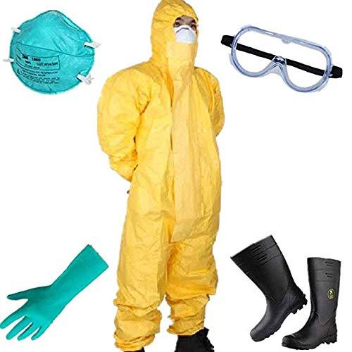 GLJY Chemieschutzkleidung, Arbeitsschutz Korrosionsbeständige Säure-Base Ölbeständig und Wasserdicht Experimentelles Isolierstück Fünfteilig,L