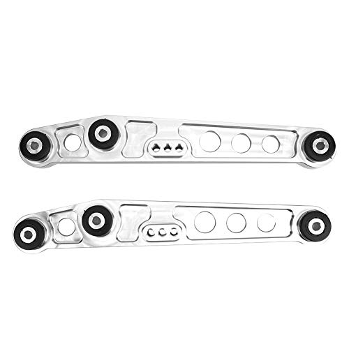Suuonee Brazo de control inferior trasero, 3 colores Aleación de aluminio Kit de refuerzo de bastidor auxiliar de brazos de control inferior trasero para 92-95(Plata)