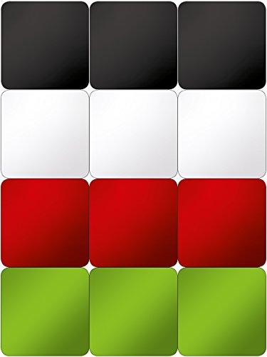 Eurographics Deco Colours I Memoboard Zubehör, Glas, Magnete Grün, Rot, Schwarz, Weiß, 20.5x11.5x1.8 cm