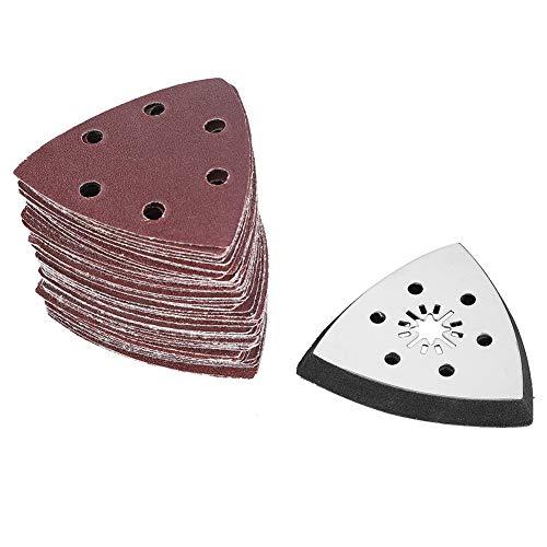 61pcs 90mm Papier Abrasif Papier Ponçage Triangulaire 6 trous Multi-fonctions, Papier Abrasif Tampon Abrasif pour - Remplacement Rapide de la Lame, Etui, Grattoir, Lame