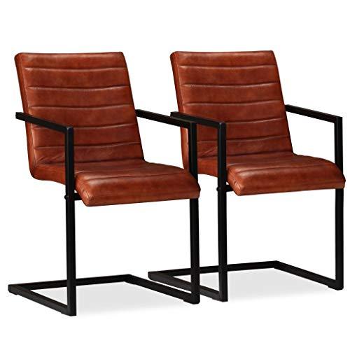 Festnight 2er Set Echtleder Esszimmerstühle mit Stahlrahmen | Polsterstuhl Schwingstuhl Essstuhl Küchenstuhl 51 x 56 x 91 cm Braun