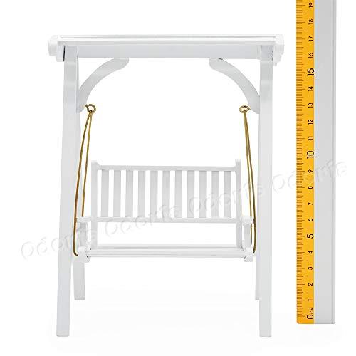 Odoria 1/12 Miniatur Gartenmöbel Hollywoodschaukel Gartenschaukel 2-Sitzer Holz Weiß Für Puppenhaus Möbel Zubehör - 4