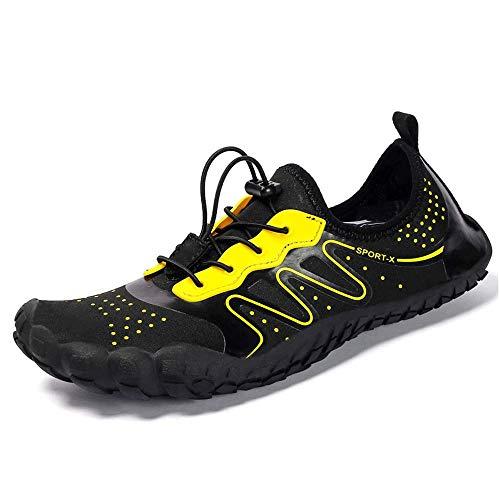HaoLin Ciclismo Zapatos De Senderismo Zapatillas De Deporte Escalada Al Aire Libre Trekking Calzado Deportivo Zapatos Planos Antideslizantes Zapatillas De Agua para Vadear Unisex,Black-43