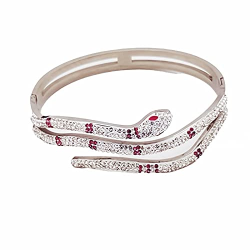 YUEXING Bracelets Emerald Eyes Gold Animal Bangle Fashion full diamond Snake shaped Titanium Steel Accessories for Gift Women Girls Teens Party,Silver Red Drill/One Size