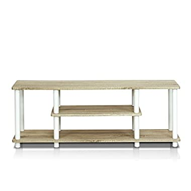 Furinno 12250R1OK/WH Turn-N-Tube No Tools 3D 3-Tier Entertainment TV Stands, Oak