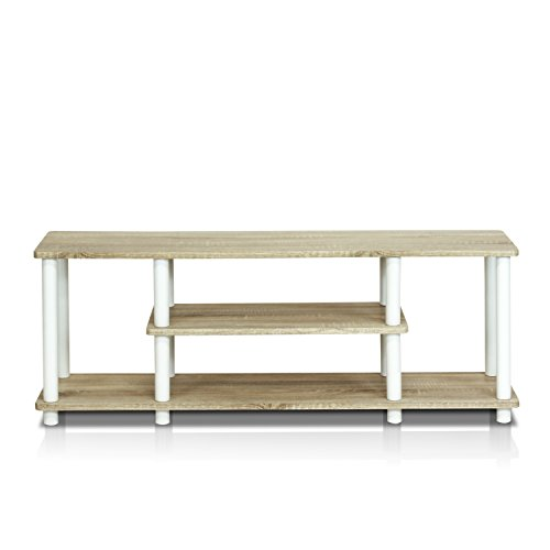 Furinno Turn-N-Tube 3-Tier Entertainment TV Stands, Round, Oak/White