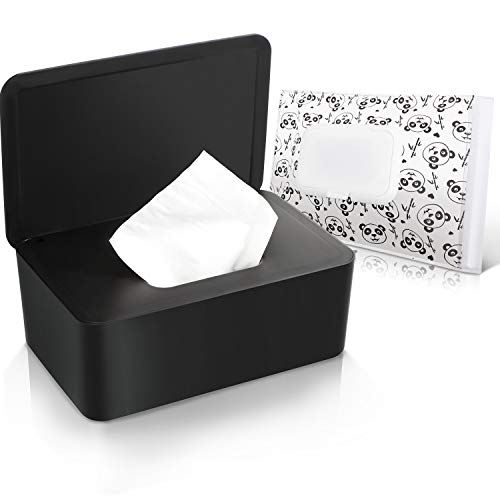 Baby Wipes Dispenser Pouch with Lids for Napkin Nappy Paper Tissues Towel Portable Reusable Simple Style Wipe Container Holder Warmer Regular Storage Case Box Bag to Keep Wipe Fresh and Nonslip, Black