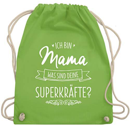 Muttertagsgeschenk - Ich bin Mama - was sind deine Superkräfte - Unisize - Hellgrün - rucksack sprüche für mama - WM110 - Turnbeutel und Stoffbeutel aus Baumwolle