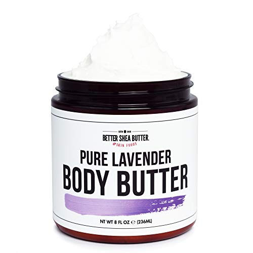Pure Lavender Whipped Body Butter for Dry Skin - Intense 24-Hour Hydrating Cream with Shea Butter - Scented with 100% Pure Essential Oils - Paraben Free, Non Greasy, No Synthetic Fragrances - 8 oz