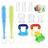 SUSSURRO Baby Food Feeder Fruit Feeder Pacifier Fruchtsauger Baby Silicone Teething Pacifiers Food Dispensing Spoon Baby Finger Toothbrush 11 Stück