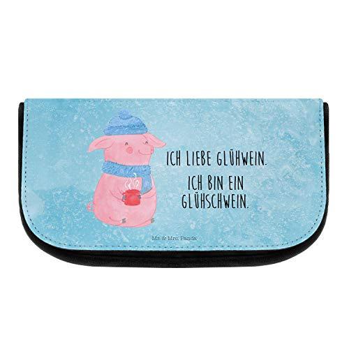 Mr. & Mrs. Panda Kulturtasche, Schlampermäppchen, Kosmetiktasche Glühschwein mit Spruch - Farbe Eisblau