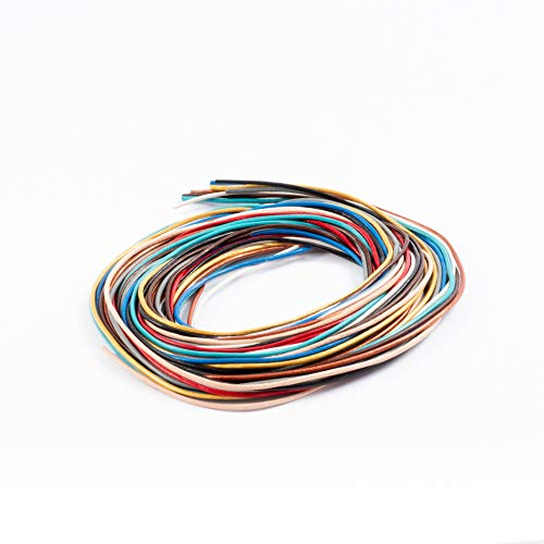 AURORIS - Farbmix Lederband rund - Ø 1mm - je 1 m der Farben schwarz braun natur blau rot grau türkis gold kupfer weiß