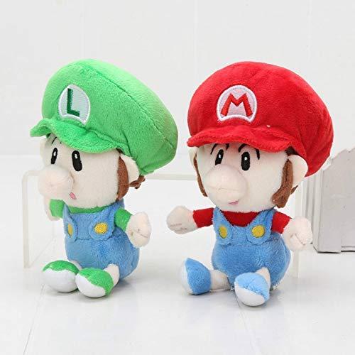 Yppss Super Mario 2pcs 14cm Juego Super Mario Felpa Juega al bebé Mario Luigi bebé Lindo Mario Suave Relleno muñecas de los niños Regalo de cumpleaños Eternal
