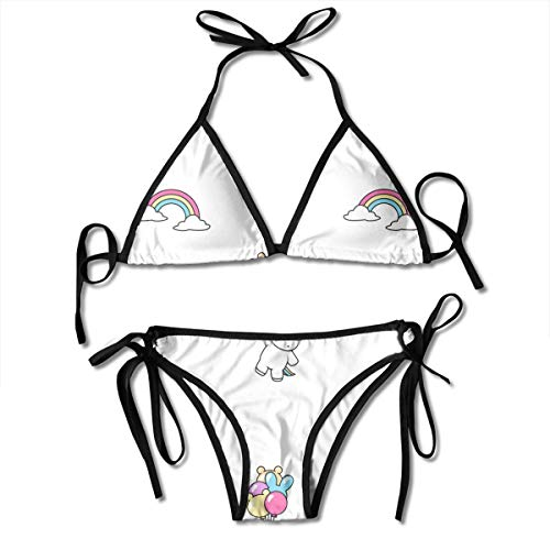 Bikini Cute Unicorn with Sunglasses Holding Balloons and Rainbow Pattern Bikini Set Two Piece,Triangle Padded Cut Out Swimsuit for Ladies Swimming Costume