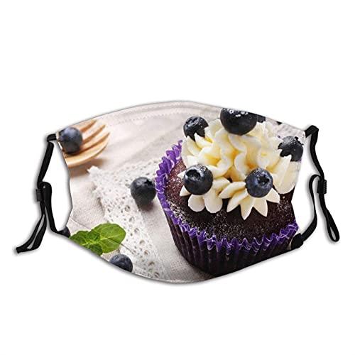 Máscara facial cómoda Muffin Blueberry Bayas crema a prueba de sol moda Bandana Headwear para la pesca