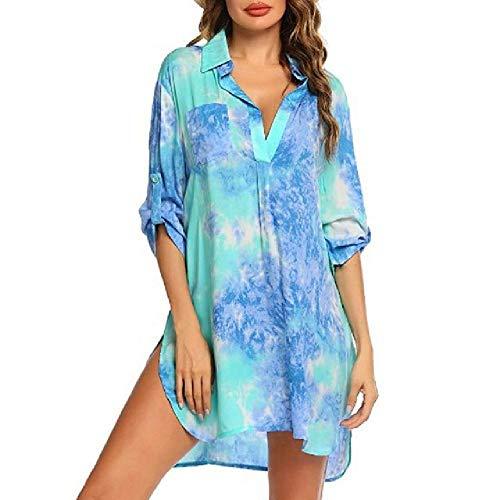 N\P Casual mujer relajada manga larga blusa de playa vestido camisa