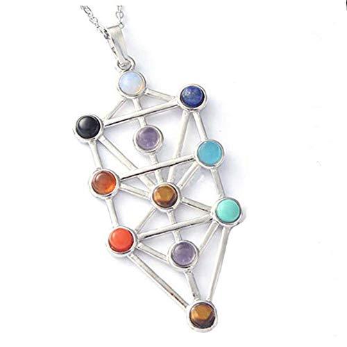 The Qabalistic Tarot Tree of Life Pendant Jewish Kabbalah Necklace Bead Chakra Healing Gemstone Jewelry