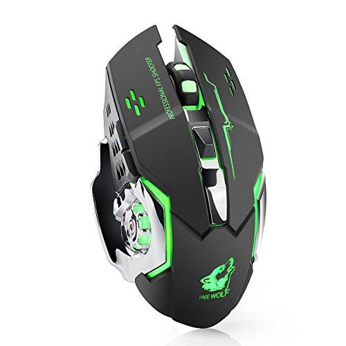 Lexonelec Wireless Mouse X8 batterie 2,4 GHz Silencieux Mute 7 couleurs LED rétroéclairé Respirer 1800dpi Régler optique ergonomique sans fil Gaming Mouse Gamer souris 6 boutons pour PC