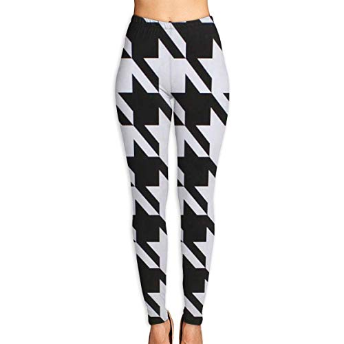 JJsister Pantalones de Yoga, Women's Houndstooth Black Printed Leggings Full-Length Yoga Workout Leggings Pants Soft Capri