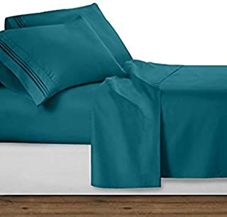 Zorifi Craft 4 Piece Bed Sheet Set 100% Egyptian Cotton Long Staple Cotton Bedsheet and Pillow Cover,Sateen Finish,Soft,Breadthable Deep Pocket up to 21-Inch Teal Full 450 Thread Count