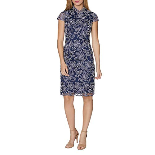 LAUNDRY BY SHELLI SEGAL Womens Lace Mock Neck Cocktail Dress Navy 2