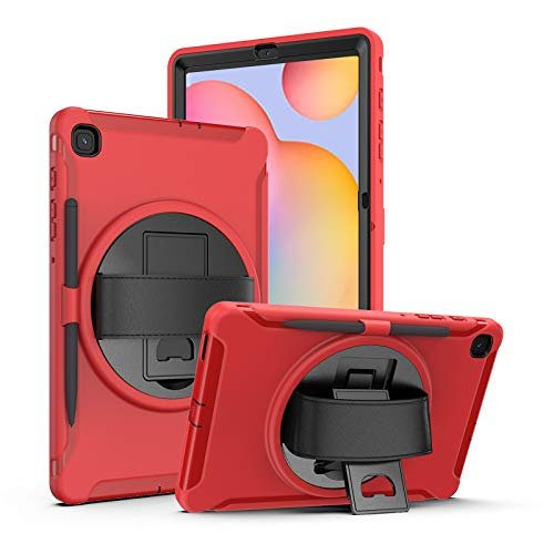 Case for Samsung Galaxy Tab S6 Lite 10.4 inch 2020 (Model: P610/P615), Heavy Duty Shockproof Smart Case with [360 Rotatable Stand] [Hand Strap/S Pen Holder ] Drop Protection Case,Red