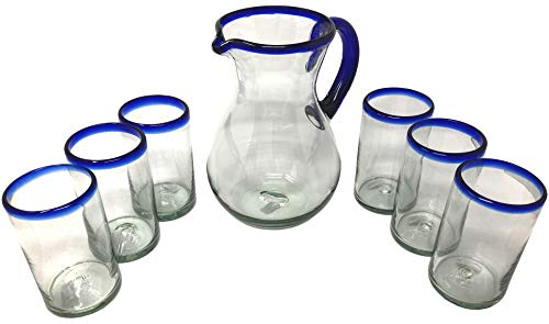 Mexican Hand Blown Glass Drinkware Set - Includes Pitcher (84oz) and 6 Blown Drinking Glasses (14oz) – Cobalt Blue Rim