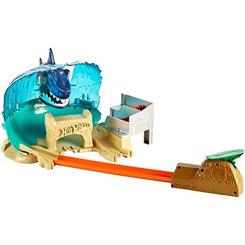 Hot Wheels City, Batalla en Playa Tiburón, Pista de Juguete para niños de 5 años en adelante, conectividad con otros sets de Hot Wheels