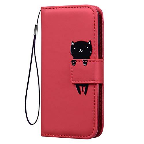KERUN Funda para Cuero con Tapa Xiaomi Redmi Note 9T 5G, Estuche para Teléfono Tipo Billetera [PU/TPU], Funda Protectora con Función de Soporte a Prueba de Golpes. Rojo