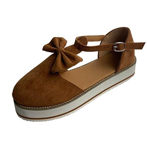 Yowablo Chaussures Femmes Bout Rond Creux Appartements Talon Semelle Épaisse Noeud Boucle Sangle Casual (43,Marron)