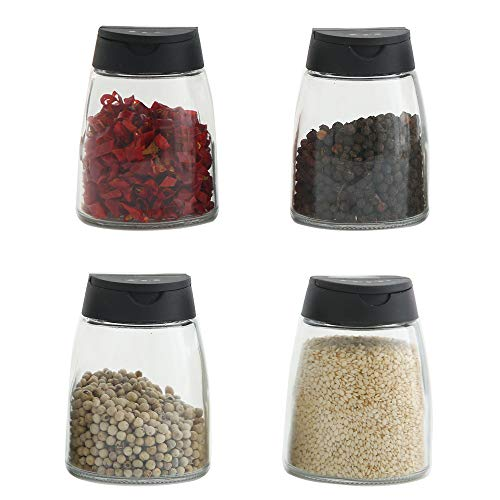 Double Lids Seasoning Shakers Glass Bottles Spice Shakers Sifter Barbecue Spice Jars Salt & Pepper Shaker Container Set, Package of 4