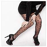 Medias clásicas de seda de lunares pequeños para mujer, delgadas, vintage, tatuaje sintético, medias de cintura alta (color : BlackBigDot, talla: Talla única)