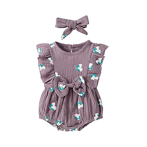 AIni Baby Bekleidung, Mode Elegant Sommer Neugeborenes Baby MäDchen Jungen Fester Spitze Bogen Spielanzug Bodysuit Kleidungs-Outfits BeiläUfiges Strand Kleid Kleidung (Liebe Lila, 90, Numeric_90)