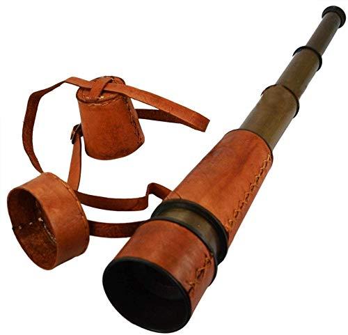 18'rojo color piel cuadernos de latón telescopio Spy cristal con seguro de piel tapa y cinturón