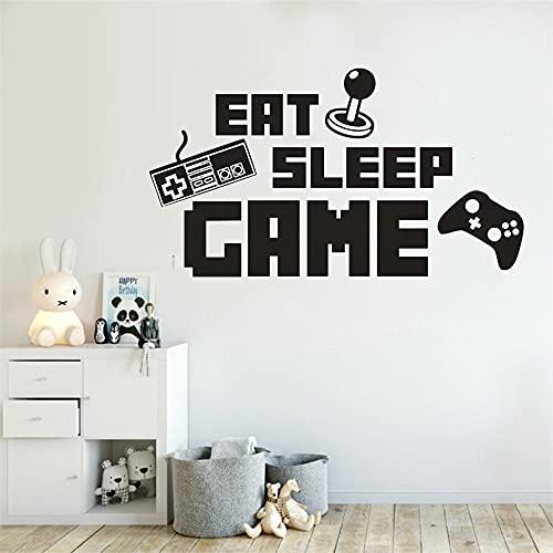 Juego de comer y dormir,pegatinas de vinilo de alfabeto para pared,juego de Joystick,arte de pared,mural para habitación de niños,A2 40x70cm