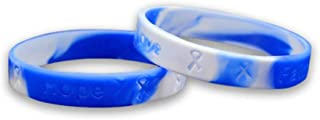 Fundraising For A Cause | Adult Blue & White Silicone Bracelets - Blue & White Silicone Bracelets for Lou Gehrig's Disease Fundraisers (50 Bracelets in a Bag)